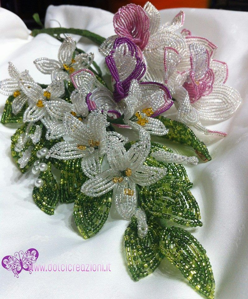 fiori di perline bouquet sposa gioielli pinterest perles broder et travaux. Black Bedroom Furniture Sets. Home Design Ideas