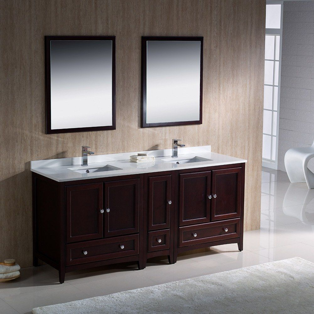 "Fresca Oxford 48"" Traditional Double Sink Bathroom Vanity Free Faucet - White"