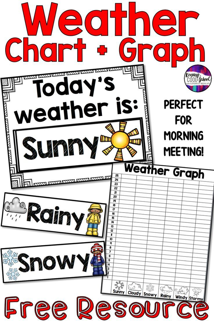 Weather Chart and Graph FREEBIE! This free weather chart and graph are a great addition to any clas