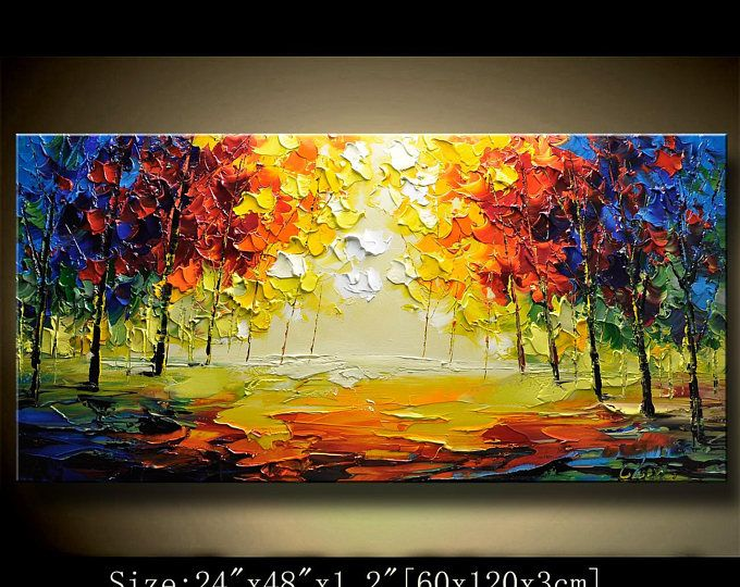 contemporary wall art,Palette Knife Painting,colorful tree painting ...