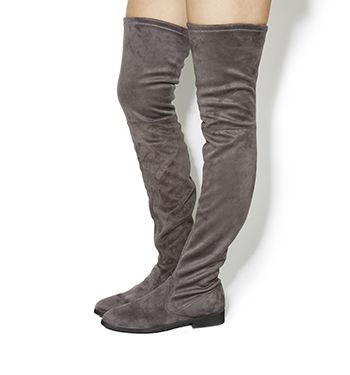 Office Eden Stretch Over The Knee Boots Grey High Bootsthigh