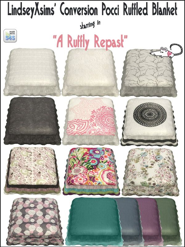 Loveratsims4: Pocci's Ruffled Blanket recolor • Sims 4 Downloads Check more at http://sims4downloads.net/loveratsims4-poccis-ruffled-blanket-recolor/