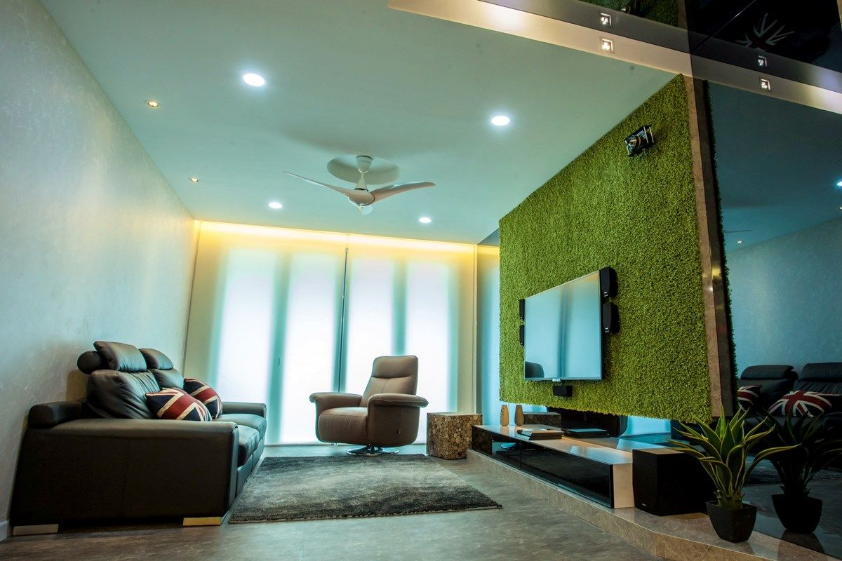 Fascinating use of artificial grass to create a uniquely designed TV