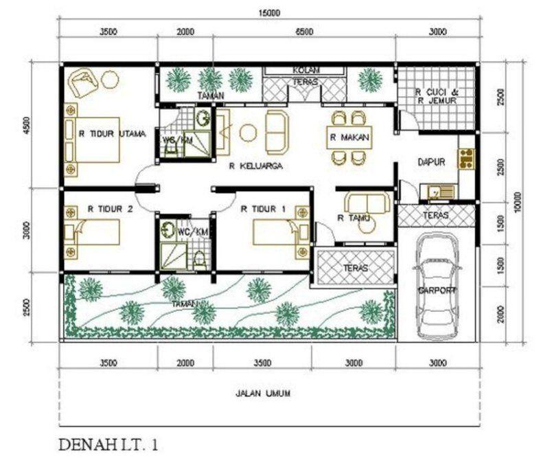 Denah Rumah 3 Kamar Tidur 10x15 M 1 Denah Rumah Sketsa Desain Interior Rumah Minimalis