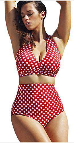 2d898904b81cd FemPool Women Plus Size Polka Dot Halter High Waisted Tankinis Sets Swimwear  From bikinis sets