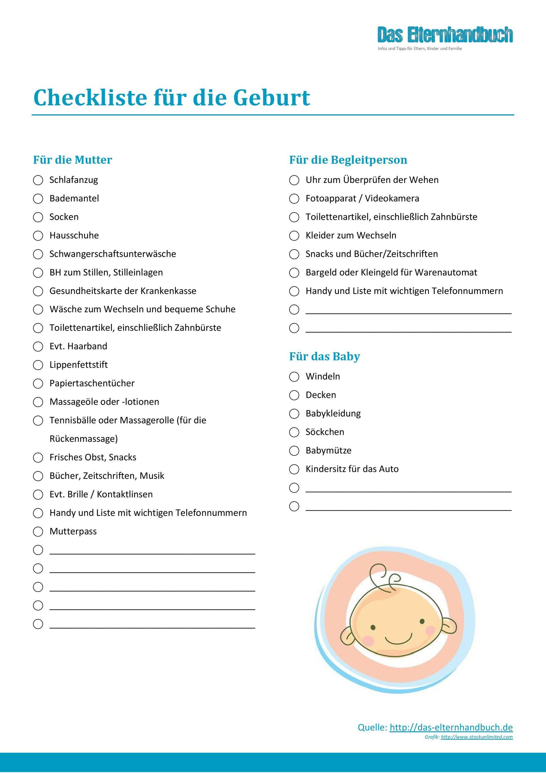 Checkliste Das Brauchst Du Zur Geburt Krankenhaustasche