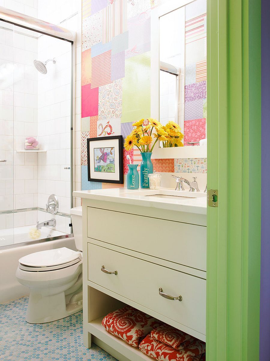 Cost Effective Colorful Trend Patchwork Wallpaper Ideas That Delight Bathroom Kids Eclectic Bathroom Traditional Bathroom