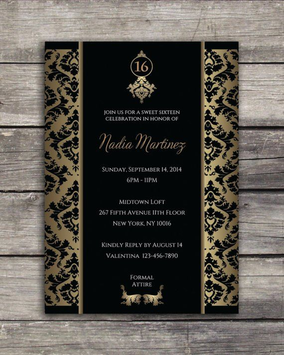 sweet 16 elegant birthday party invitation - 5x7 black and gold