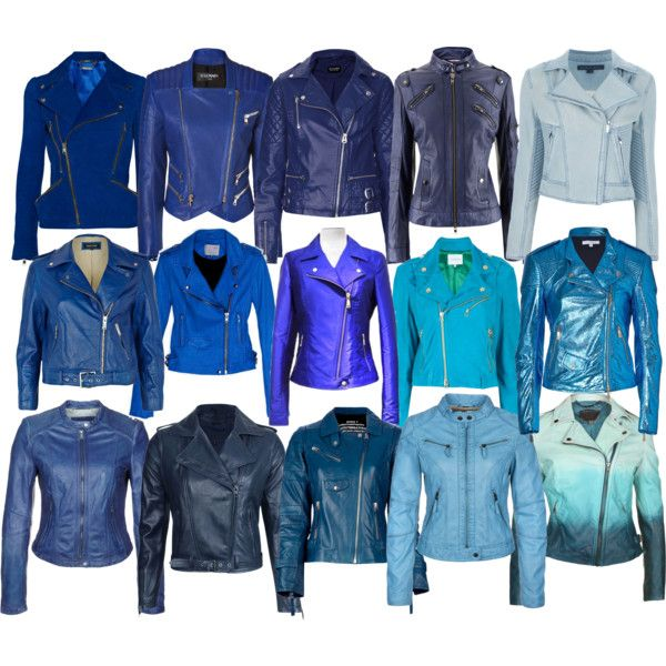 """""""Blue BikerJacket Collection"""" by laura-blakney on Polyvore Blue Biker Jackets   blue, teal, turquoise, sky blue, royal blue, navy, sapphire, fading colors, baby blue, zipper, embellished, buckle, edgy, funky, colorful, spring, fall, winter, coat, outerwear"""