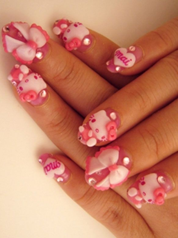 Pin By Nails By Vici On Cartoon Characters Kawaii Nail Art Hello Kitty Nails Art Hello Kitty Nails