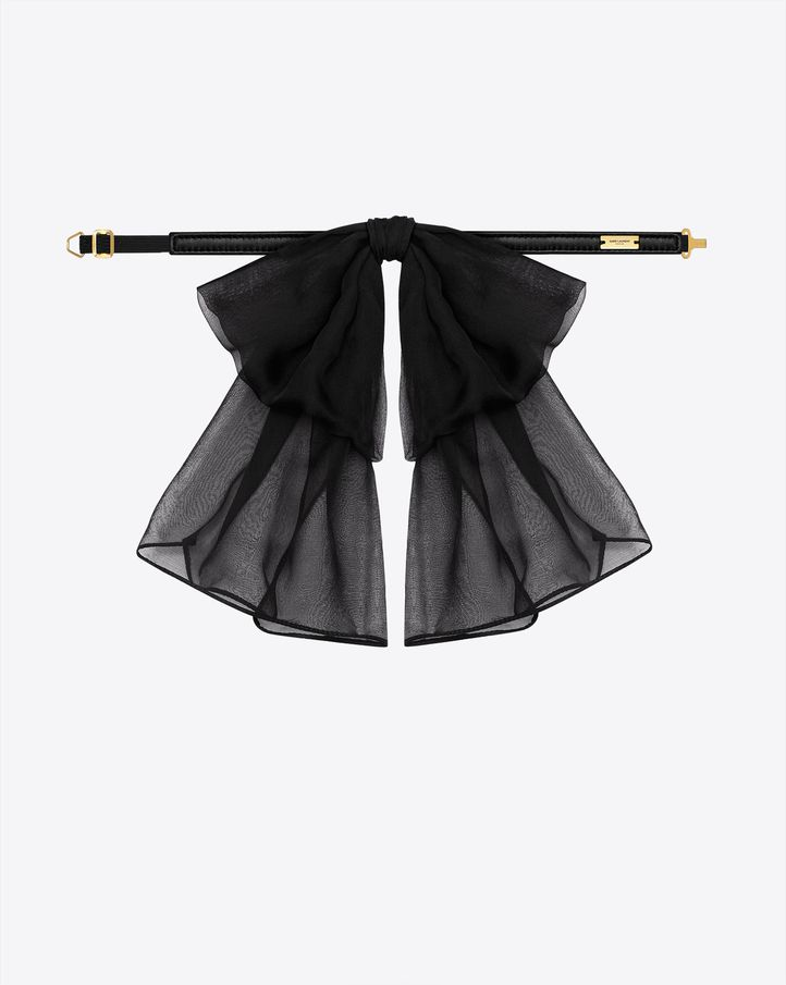 saintlaurent, SIGNATURE SMALL BOW IN BLACK SILK MUSLIN WITH LEATHER COLLAR