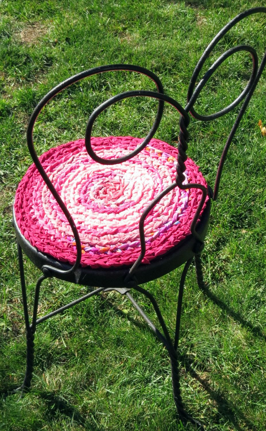 Rag Rug Chair Pads Set Of 2 Round Crochet Braided Chairpads Boho