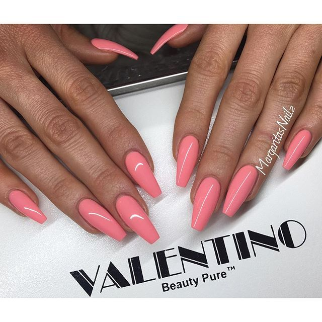 Coral Coffin Nails With Images Acrylic Nails Coffin Pink