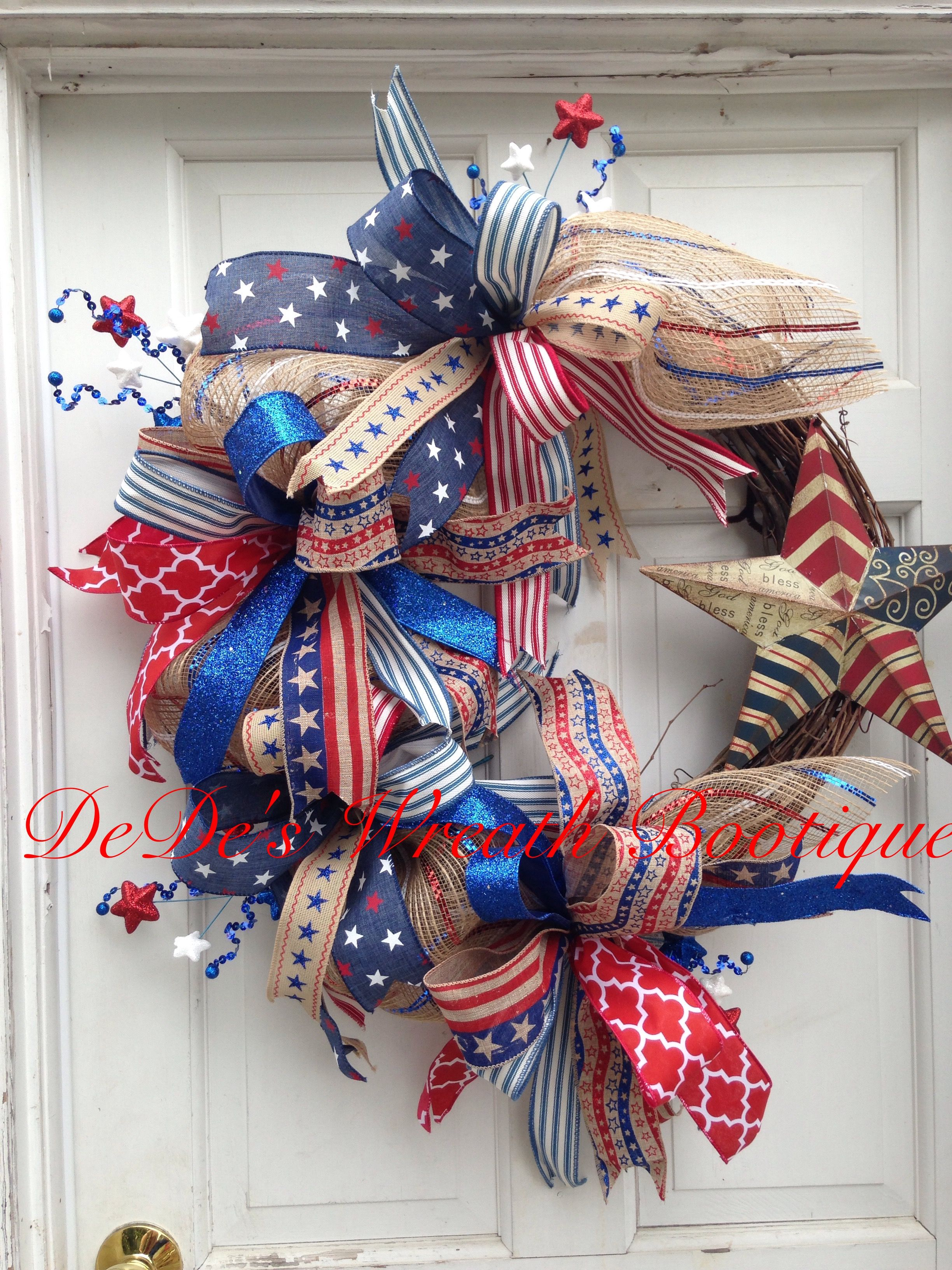 Patriotic Deco Mesh Wreath Grapevine Wreath Red White And Blue Deco Mesh Wreath 4th Of July