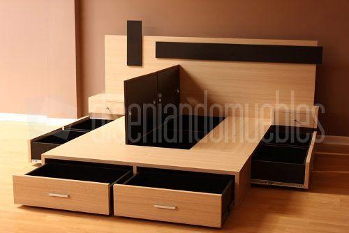 Cama con cajones y baulera mas respaldo y dos mesas de luz apartament pinterest bedrooms - Cama 90 con cajones ...