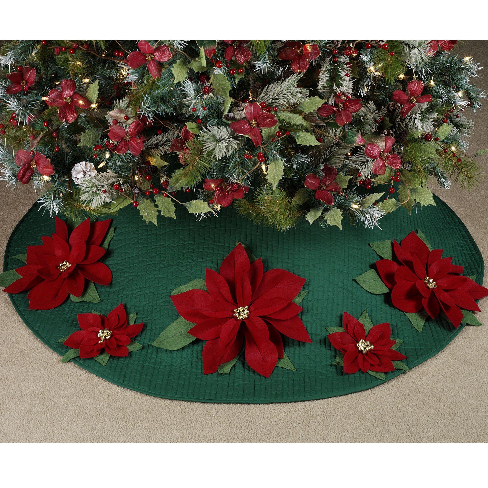 Felt Poinsettia Quilted Christmas Tree Skirt