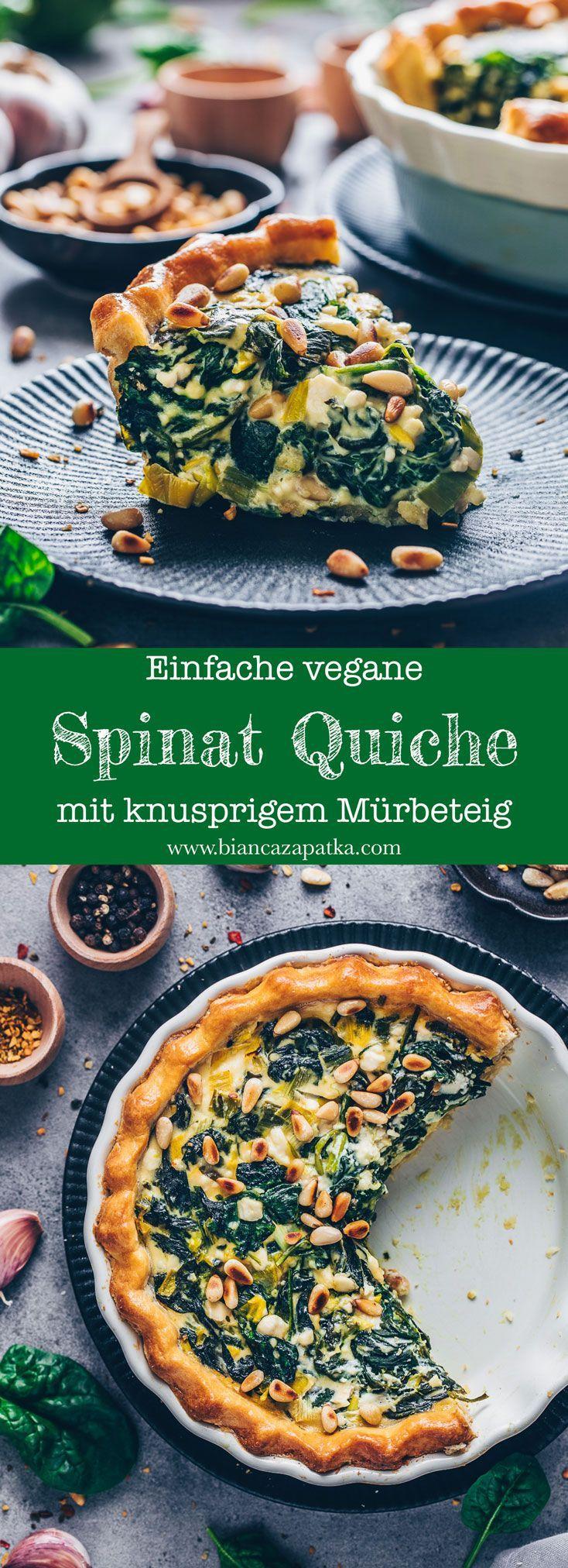 Vegane Spinat Quiche Rezept - einfach - Bianca Zapatka | Rezepte