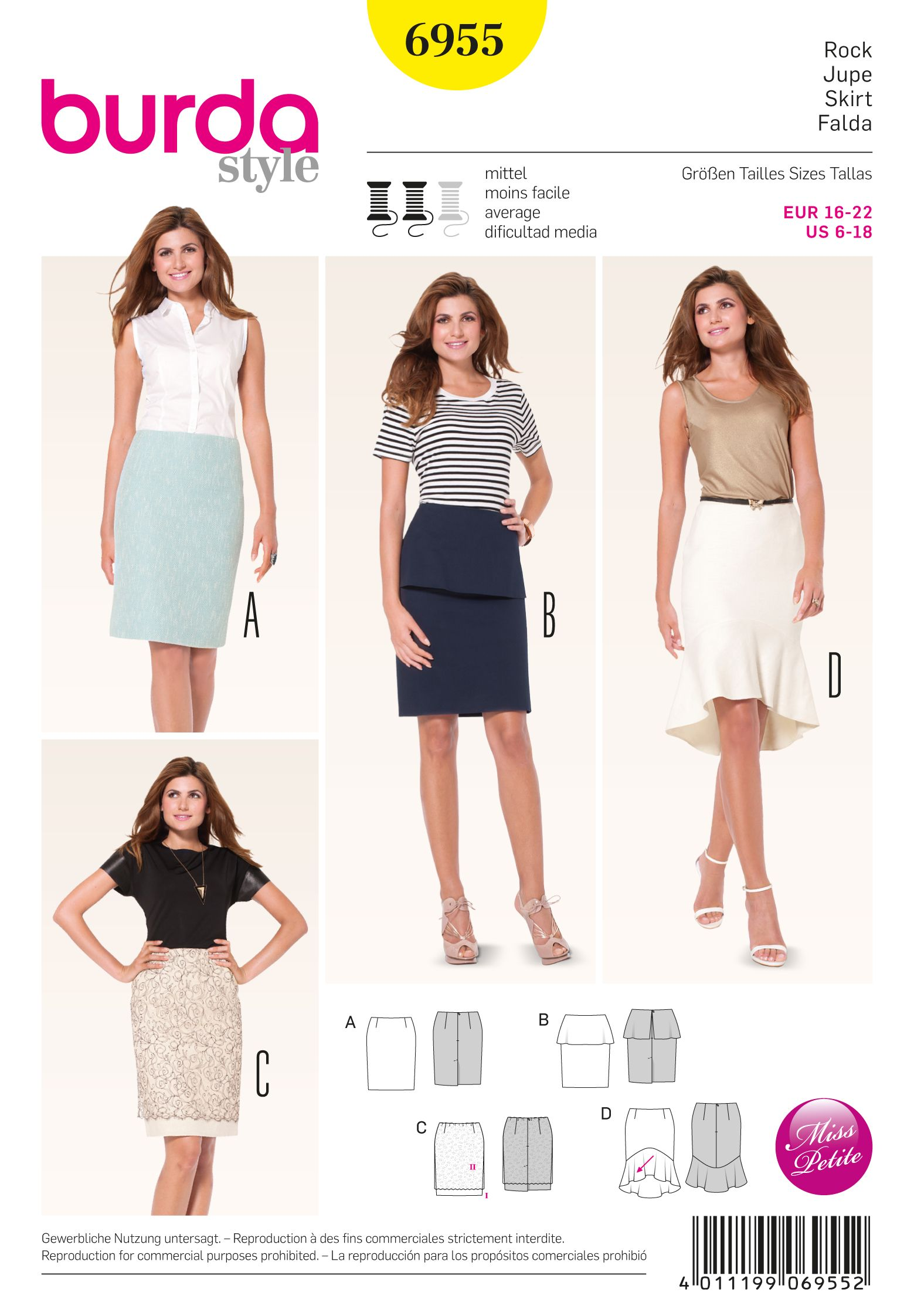 Burda 6955 Petite / Half Sizes sewing pattern | Burda patterns ...