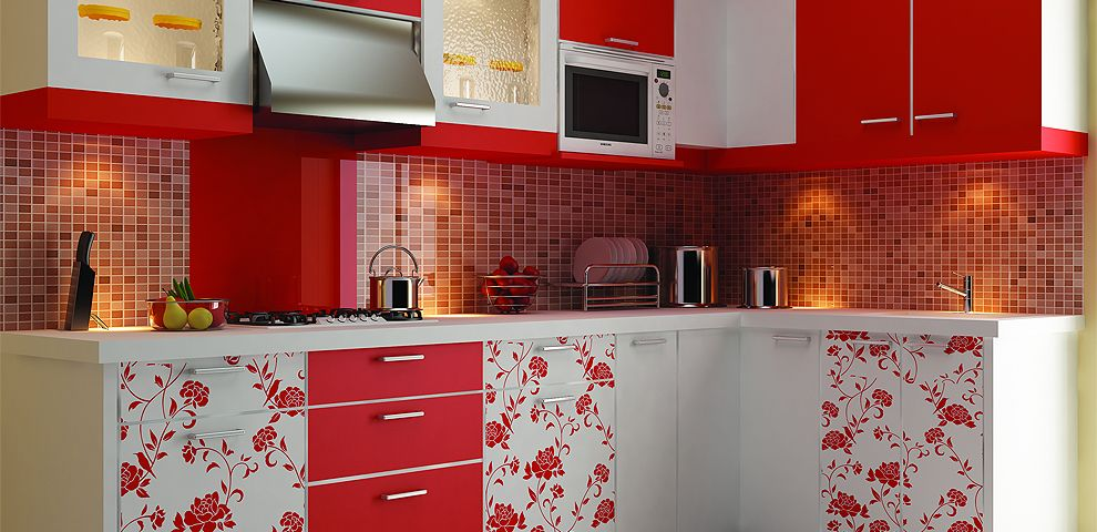 A Shining Couplet The Red And White Backsplash Blend Into Your Fascinating Modular  Kitchen Designs With