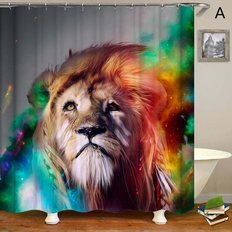 Strong Lion Printed Shower Curtain Creative Waterproof Shower
