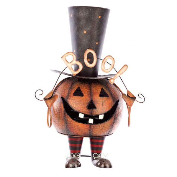metal halloween pumpkins large bouncing metal pumpkin figure 66cm occasions direct - Metal Halloween Decorations