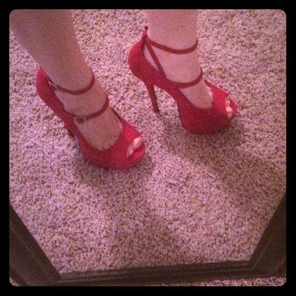 Super cute red heels! ❤️ Only worn once! 5 inch open toe red heels! Slight indention on toe(as shown in picture) love these! Charlotte Russe Shoes Heels