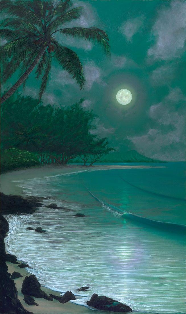 Paintings For Homes Ewa Moon Tropical Beach Night Scene