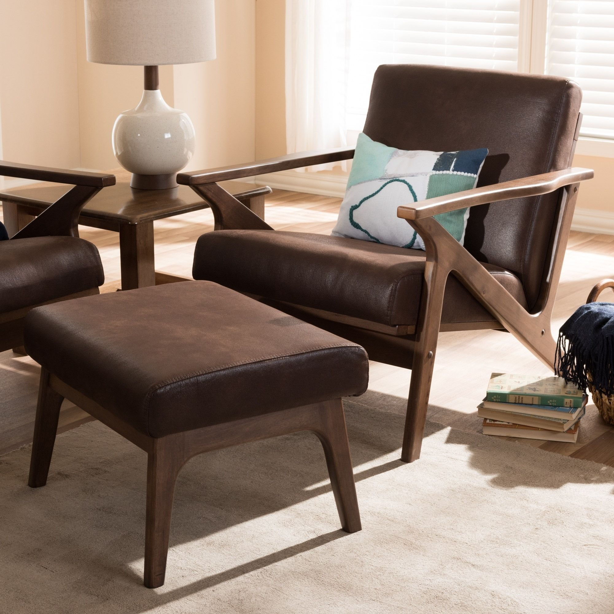 MidCentury Lounge Chair and Ottoman Set by Baxton Studio
