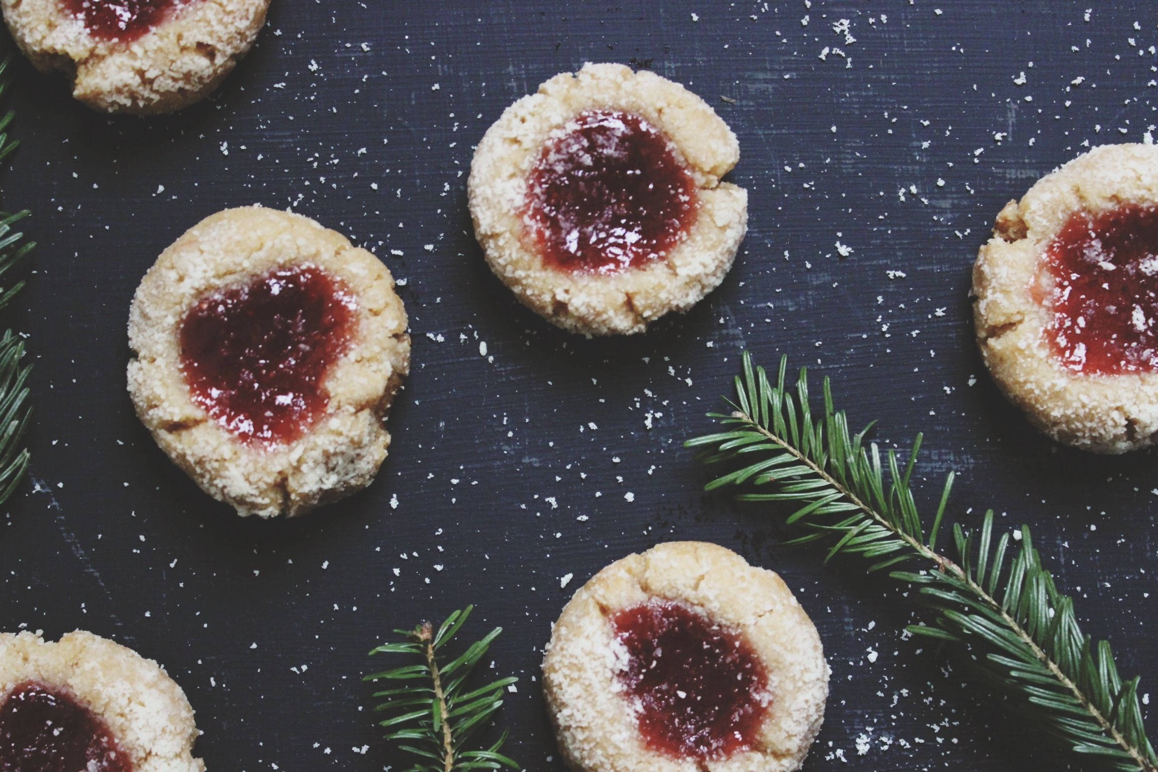 These classic jam thumbprint cookies are naturally gluten-free, vegan and paleo-friendly.