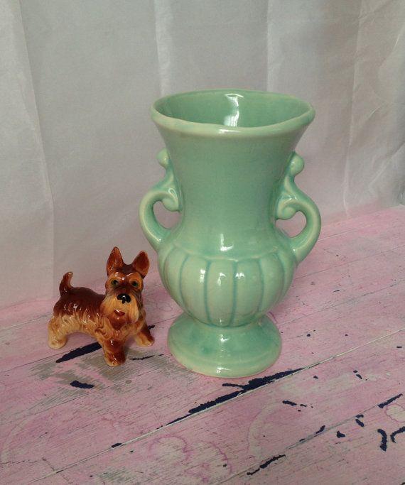 Mccoys Christmas Trees: Shabby Chic McCoy Brush Regency Vase Aqua Green Brush Vase