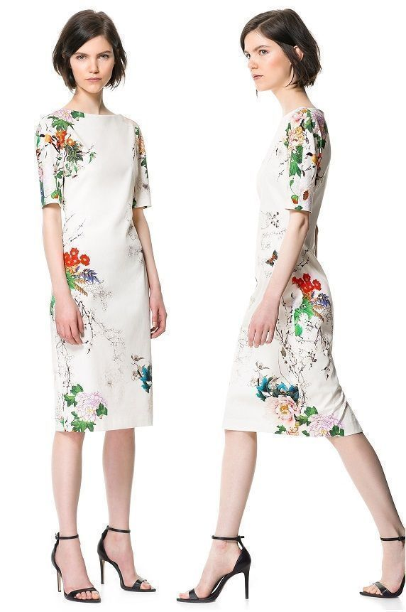 a3bf3110737 ZARA WOMAN FLORAL PRINT DRESS WHITE FLOWER WIGGLE ORIENTAL Bloggers Fav   ZARA  StretchBodycon