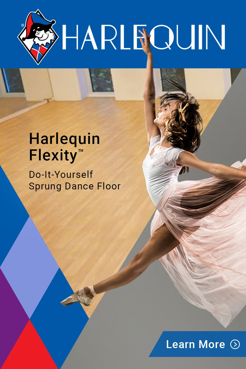 Harlequin Flexity™ is a cost-effective, self-install sprung floor panel system, designed for permanent or semi-permanent installation.