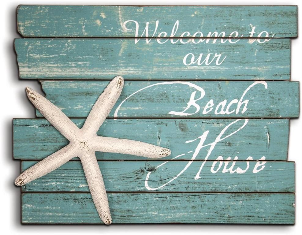 Welcome To Our Beach House Starfish Wood Sign Iwntbhmw 38 00