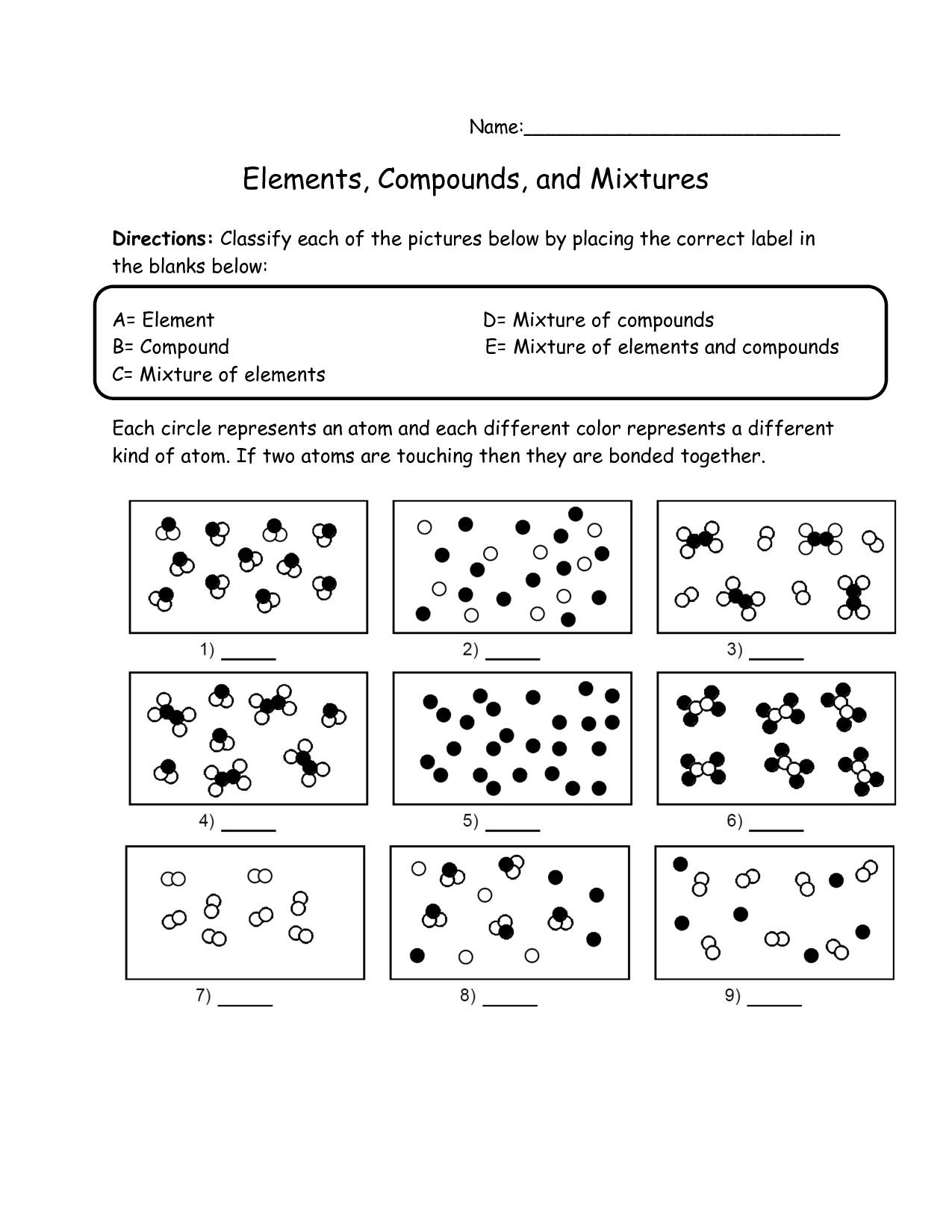 Elements Compounds And Mixtures Worksheet Grade 8