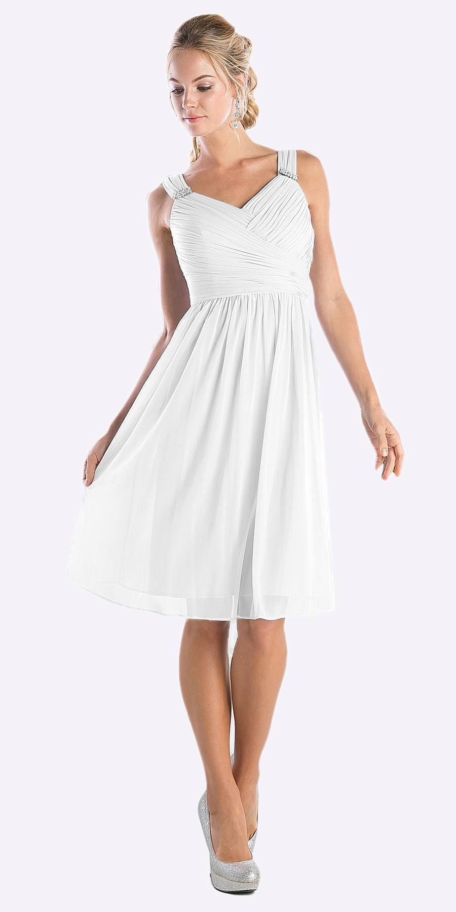 Wedding beach dress  Knee Length White Beach Wedding Bridesmaid Dress Flowy Chiffon