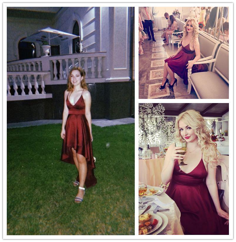 ba419aad3a COLROVIE Party Dress Deep V Neck Spaghetti Strap Sleeveless Maxi Dress  Asymmetrical Crisscross Backless High Low Cami Dress – PasangSurut