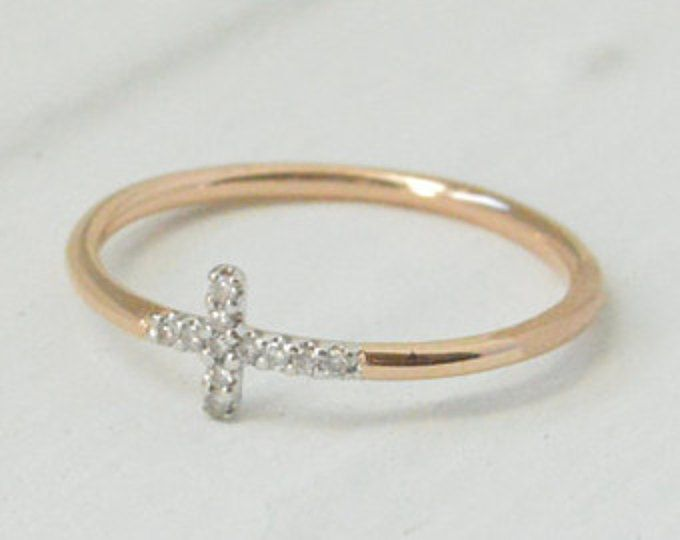10k Gold Sideways Cross Ring Diamond Jewelry Layered Gold Ring Mother S Day 10k Gold Cross Ring Micro Pave Rin Jewelry Micro Pave Ring Gold Sideways Cross