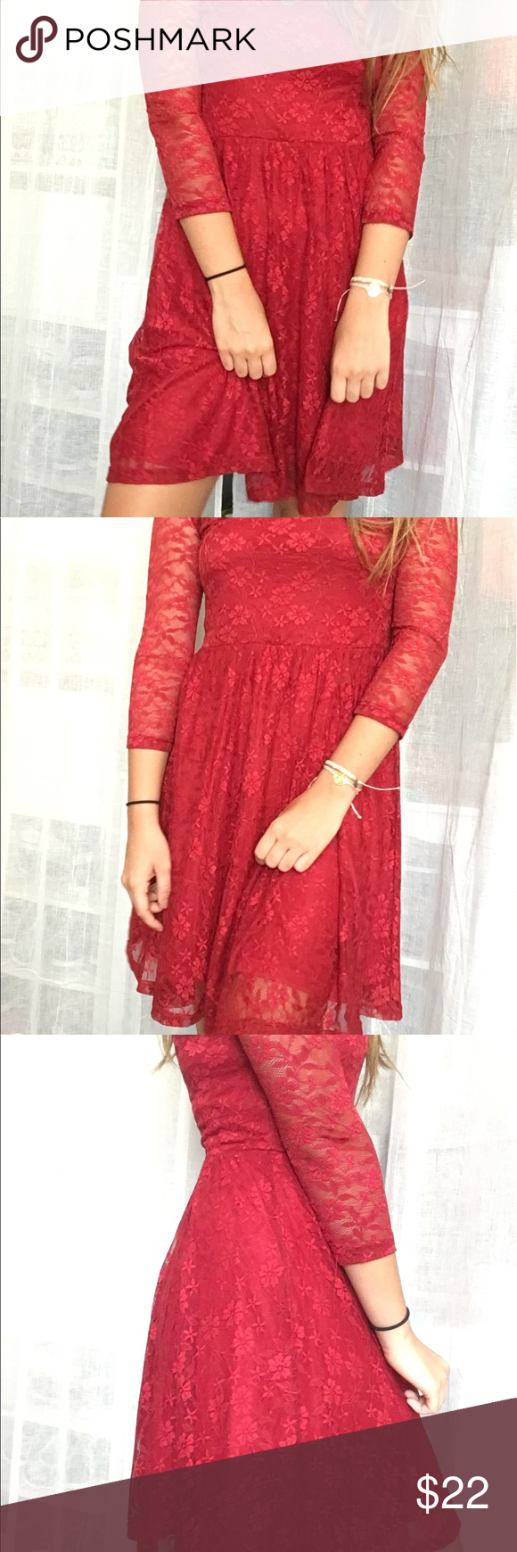 Red lace dress red lace dress with cropped sleeves never worn
