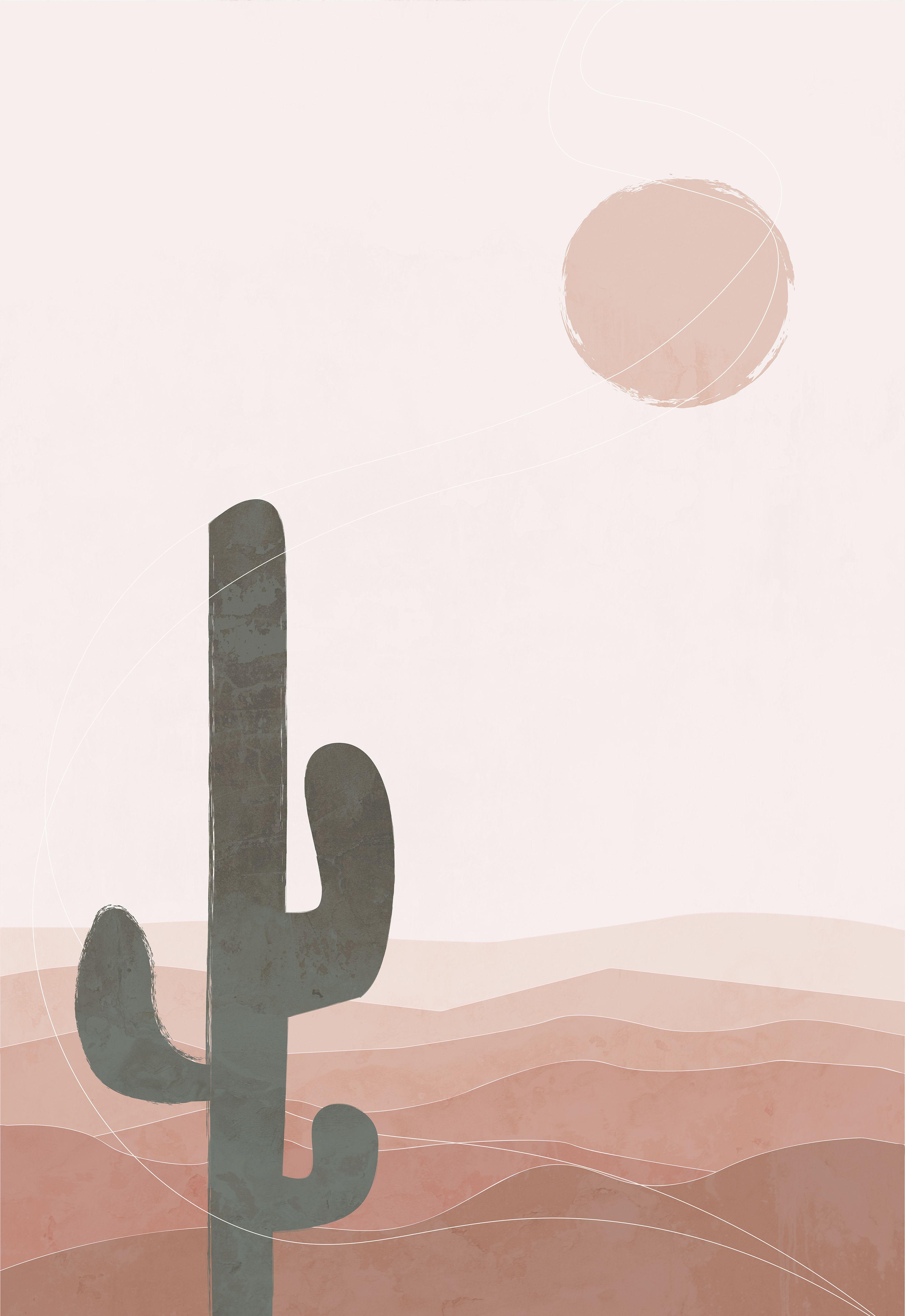 Abstract Landscape Desert Art Print Mid Century Art Mountain Wall Art Southwestern Decor Cactus Print Bohemian Print Printable Wall Art Boho Wallpaper Wall Printables