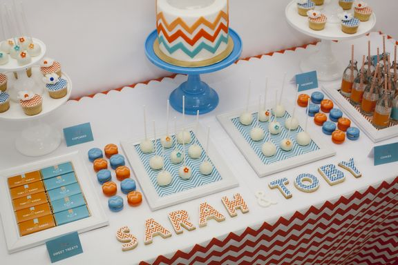 Little Big Company | The Blog: Chevron Aqua and Orange with a Touch of Gold Table by Little Big Company