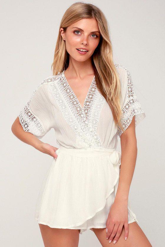 Rylen White Lace Swim Romper Cover-Up#coverup #lace #romper #rylen #swim #white