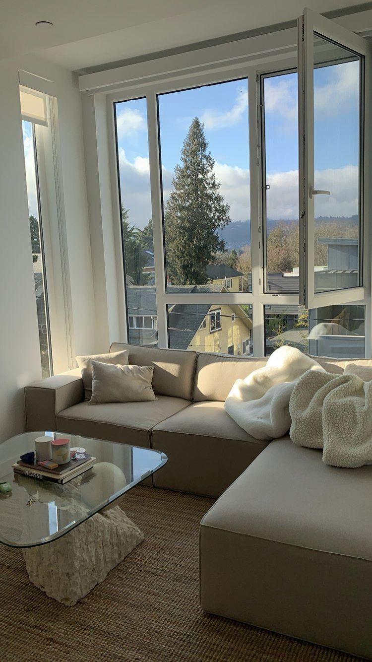 Simple Modern Living Room Decor Big Windows Glass Table In 2020