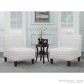 Avenue Six 3 Piece Fabric Chair and Accent Table Set