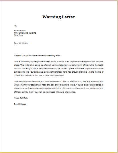 Unprofessional behavior warning letter download at httpwww unprofessional behavior warning letter download at httpwordexceltemplateswarning letter for unprofessional behavior altavistaventures Image collections
