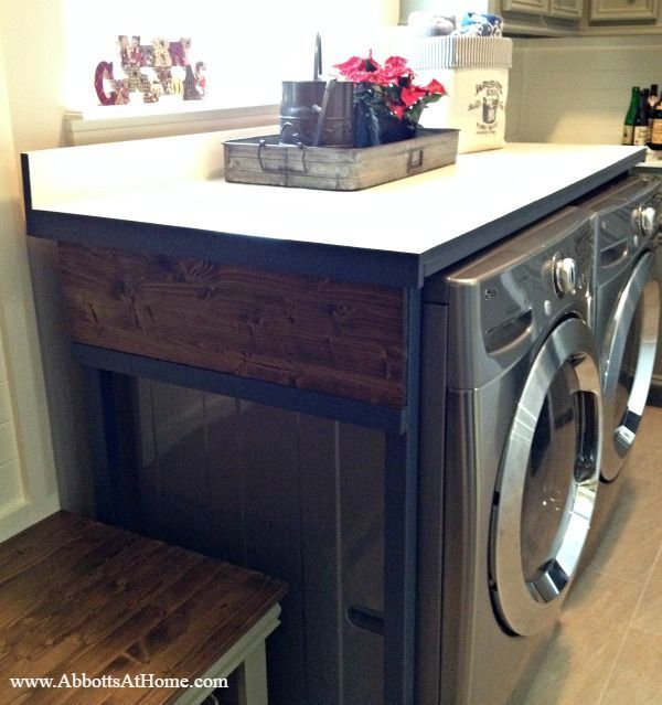 Diy Wood Laundry Table To Cover Washer And Dryer Laundry Room