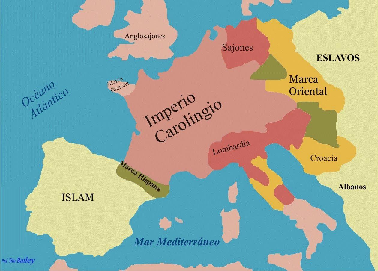 Mapa Europa Siglo Ix.El Imperio Carolingio Es Un Termino Historiografico Utilizado Para Referirse Al Reino Franco Que Domino La Dinastia Imperio Carolingio Alta Edad Media Imperio