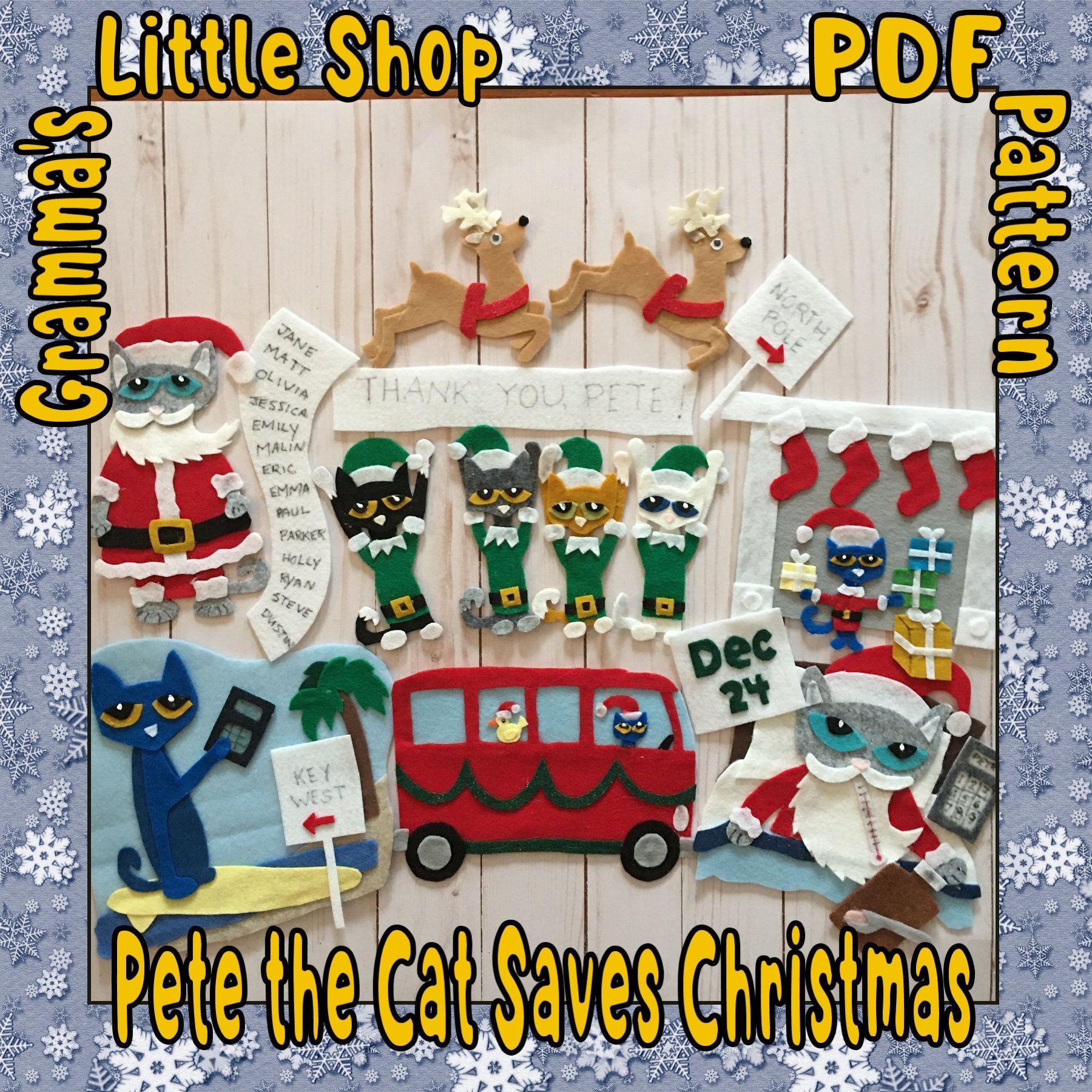 Pete the Cat Saves Christmas felt story pattern PDF