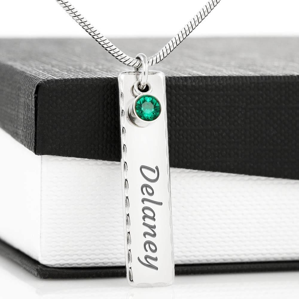 Surprise your best friend with this truly unique birthstone name necklace and watch their eyes light up with joy. Crafted in polished stainless steel, we'll engrave their name onto the charm and attach a sparkling birthstone crystal of your choice. The birthstone name necklace is a beautiful, unique gift. Perfect for your best friend's birthday, friendship anniversary, or milestone, and one that they will treasure. Our jewelry is made, engraved, and shipped from the USA. We are proud to support