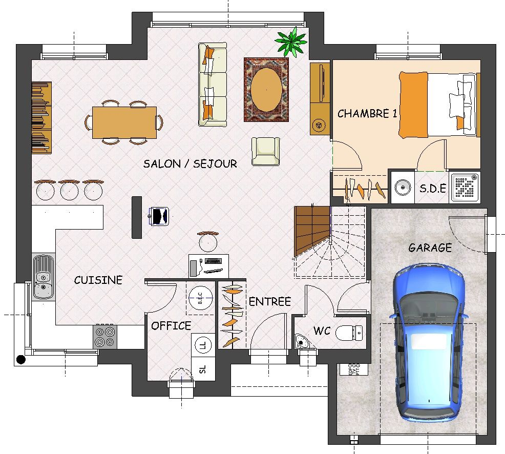 Plan de maison contemporaine 4 chambres avec garage for Plan maison en l 3 chambres garage