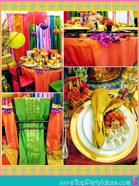 Vibrant Indian Theme Party   Party Table, Decor, Place Settings, Napkins,  Table